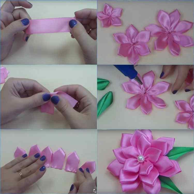 Фото как сделать цветы из атласных лент