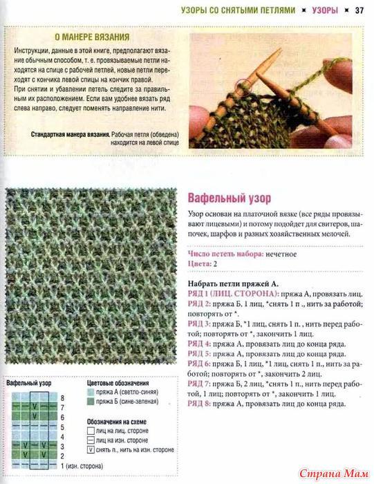 Описание вязания узора со снятыми петлями 4