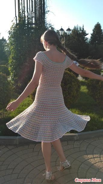 Летнее платье крючком из хлопковой пряжи