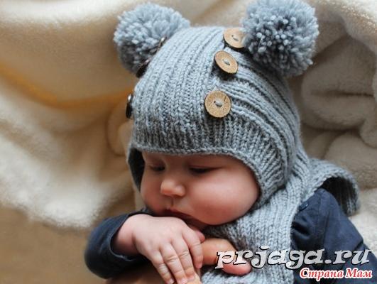 Шапочка шлем спицами для мальчика.