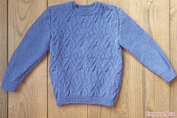 Детский свитер спицами рельефным узором