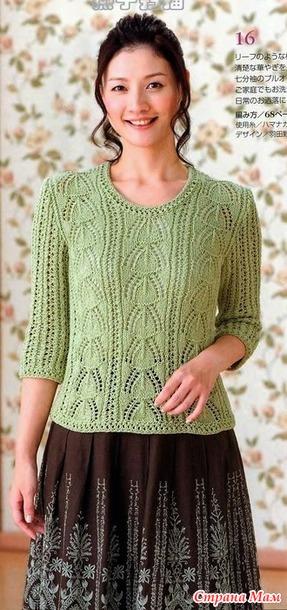 Пуловер с рукавами до локтей. Спицы.