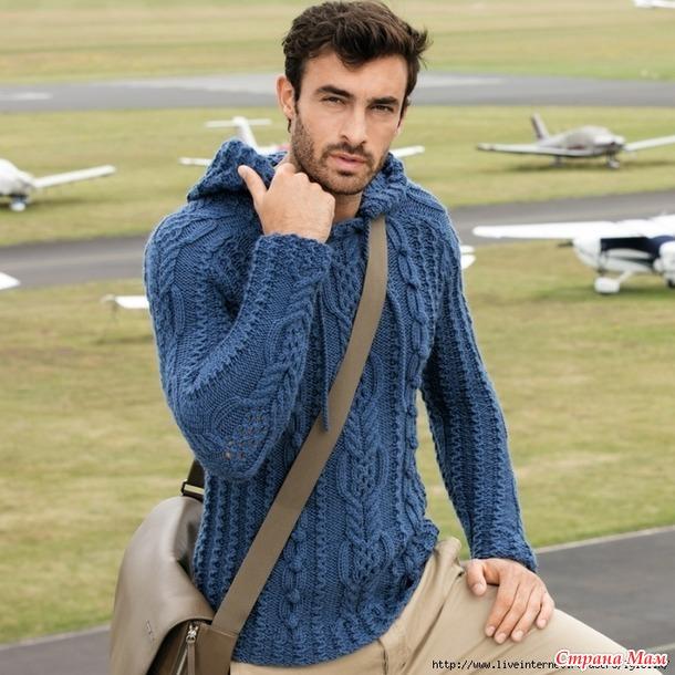 . Мужской пуловер с капюшоном