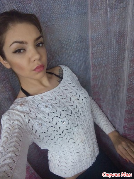 белый ажурный пуловер крючком