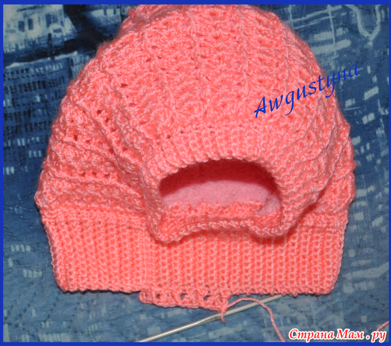Вязание спицами для детей шапка-шлем