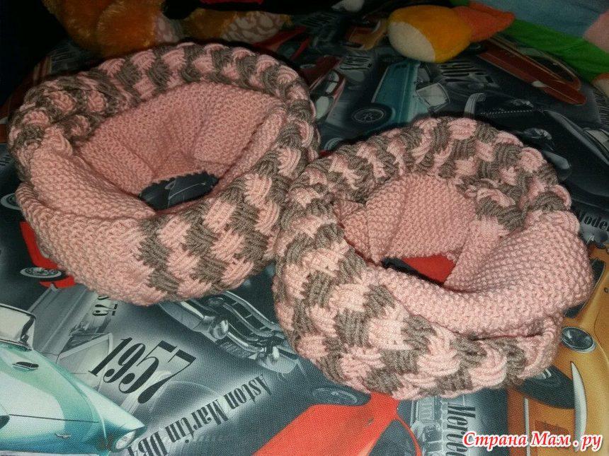 Вязание спицами снуда плетенкой