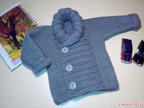 вязаная кофта-пальто для мальчика спицами - Вязание для ...