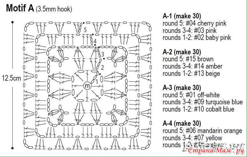 Схема вязания покрывала крючком для начинающих6