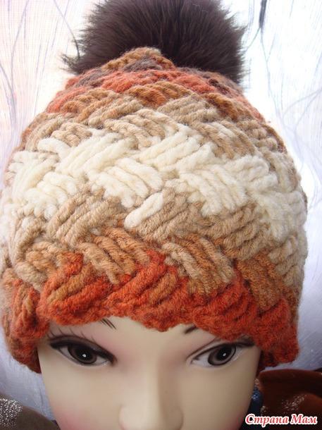 Вязание шапка плетёнка 81