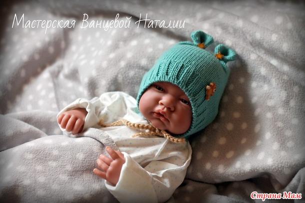 Вязание шапочки с ушками для новорожденного мальчика 10