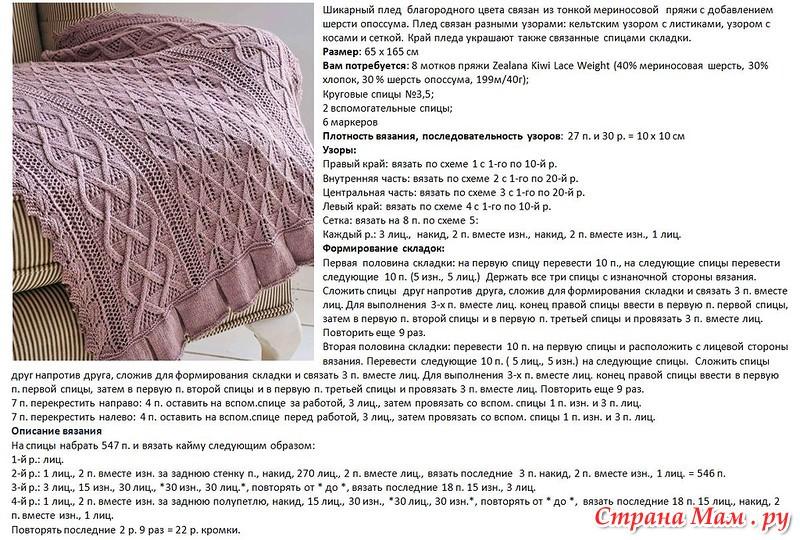 Вязание спицами красивого пледа спицами для новорожденных