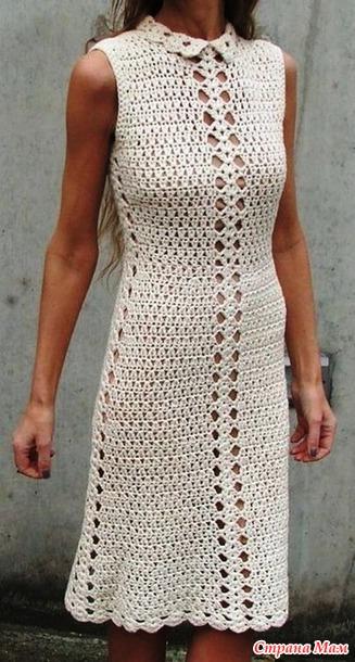 Женственное платье крючком. Дополнена. (подбор схем).