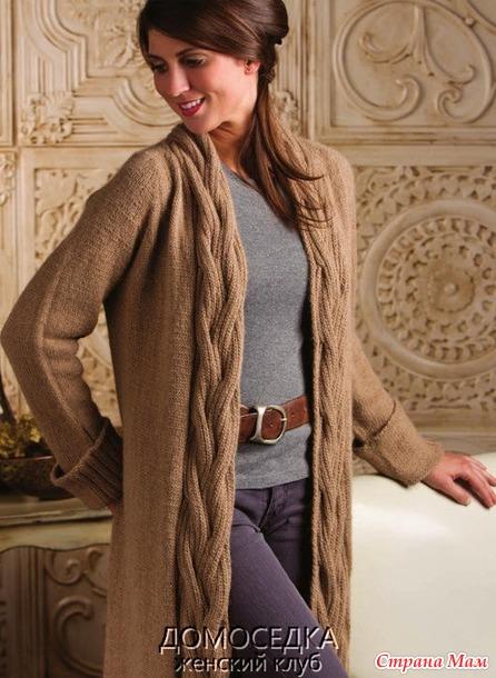 Красивый длинный вязаный жакет от Nancy Rieck
