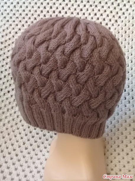 все о шапке плетенка спицами