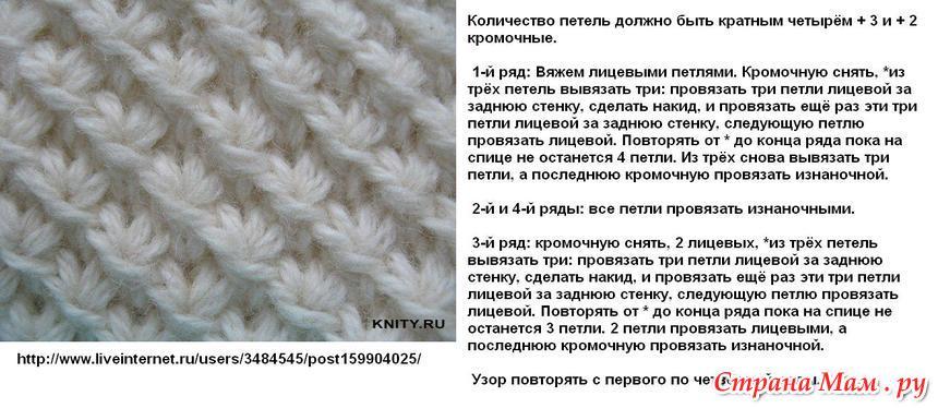 Выпуклые узоры вязания на спицах