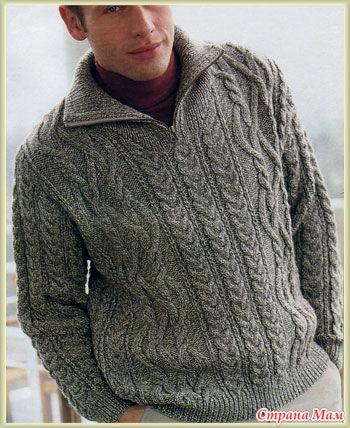 Мужской свитер, спицы + описание.