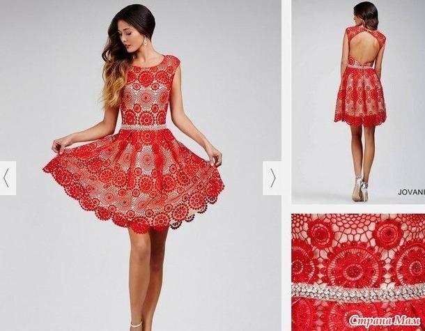 . Нежное платье из мотивов крючком