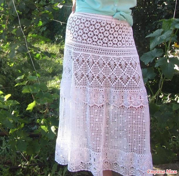 Длинная юбка, комбинированная кружевом