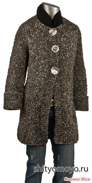 Пальто из пряжи букле с рукавом реглан