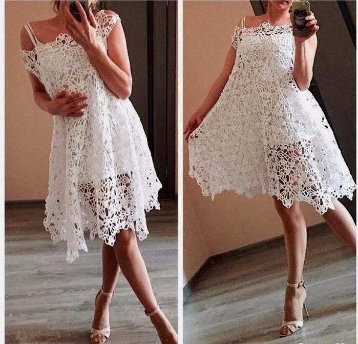 Белые платья крючком и
