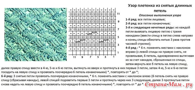 Описание вязания узора со снятыми петлями 43