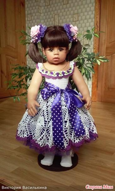 Вязанное платье для кукол схема