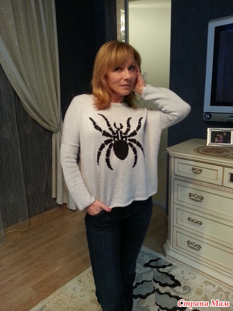 Пуловел с пауком (спицы)
