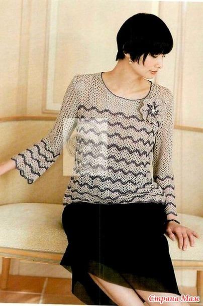 Элегантный полосатый пуловер узором зиг заг. Крючок.