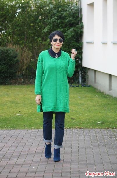 Туника ярко зеленого цвета.  Спицы и крючок.
