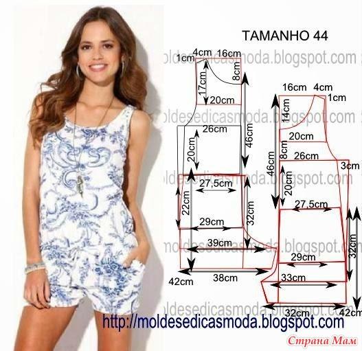 Женская пижама с шортами выкройка