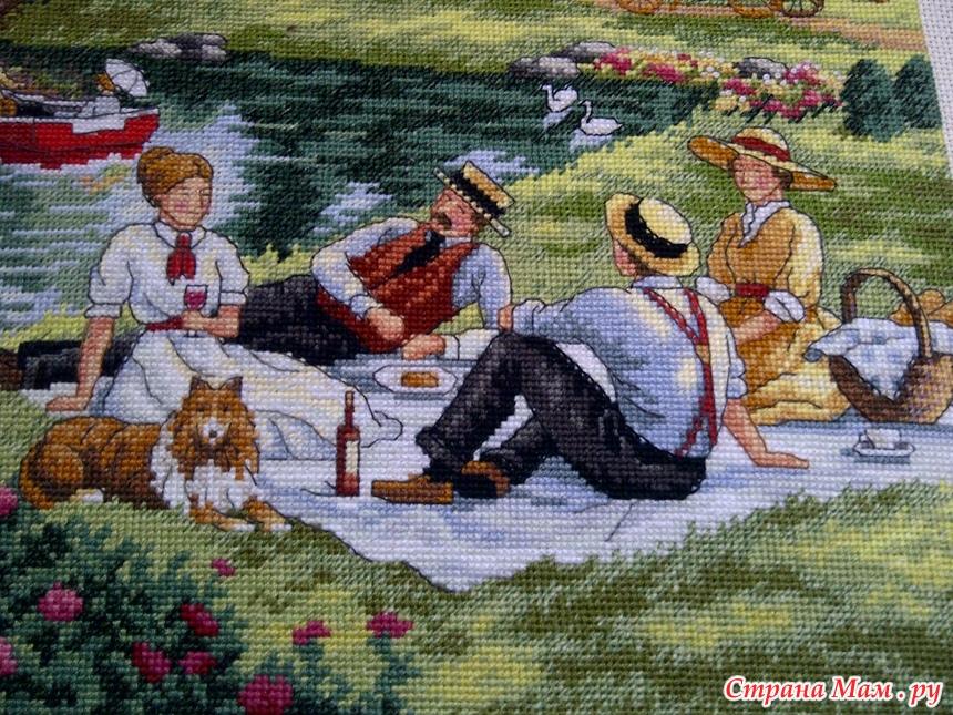 Пикник на лужайке вышивка