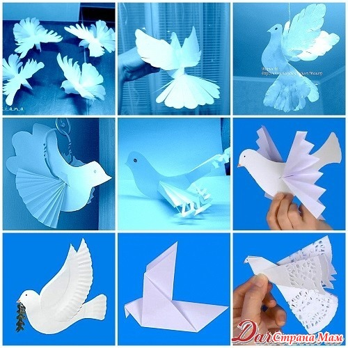 Как сделать объёмного голубя из бумаги
