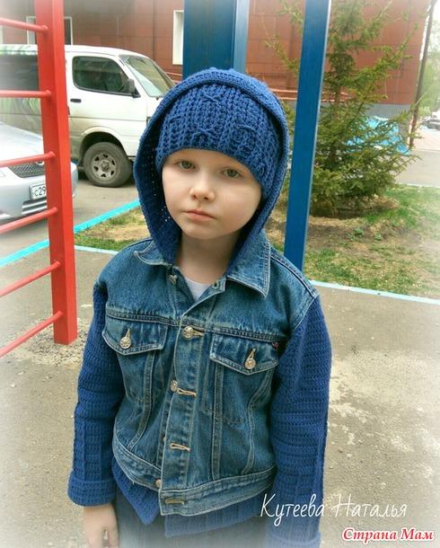 Комбинированная джинсовая куртка... или куртка-переделка... и шапочка... (Мини-МК)