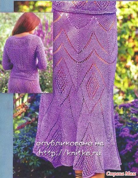 Летняя юбка спицами из Журнала мод вязание