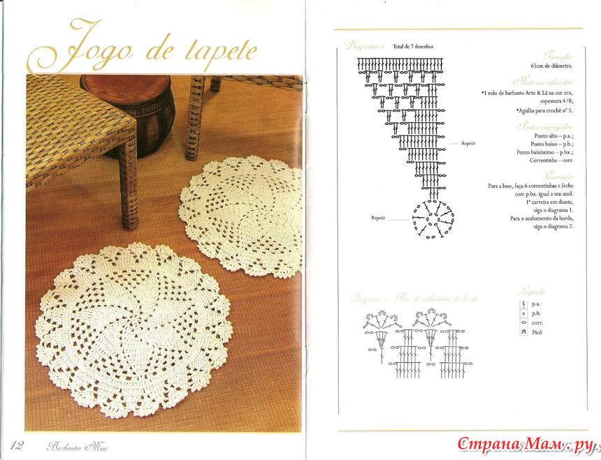 Цветы крючком для коврика схема