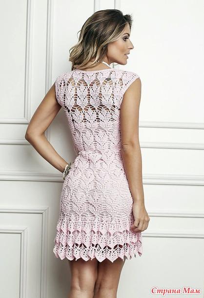 . Ажурное платье Лепестки розы.