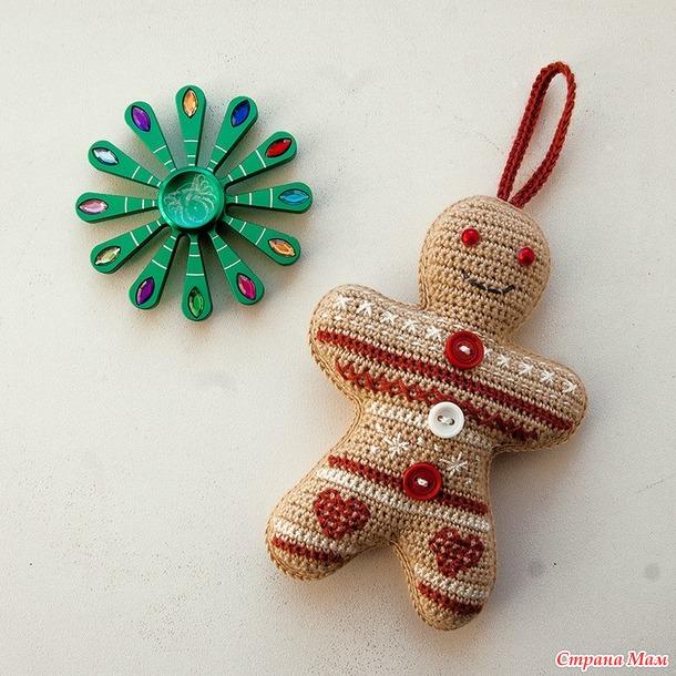 Жаккардовые пряничные человечки. Елочная игрушка. Милый новогодний сувенир