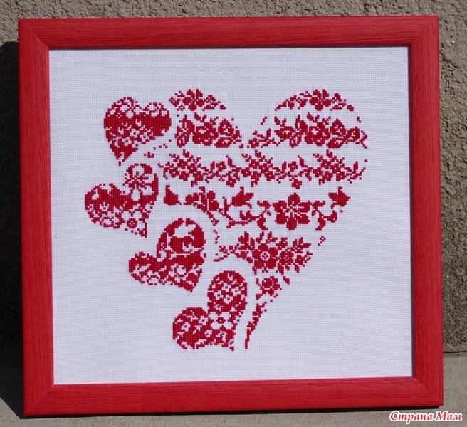 Сердце из сердец вышивка
