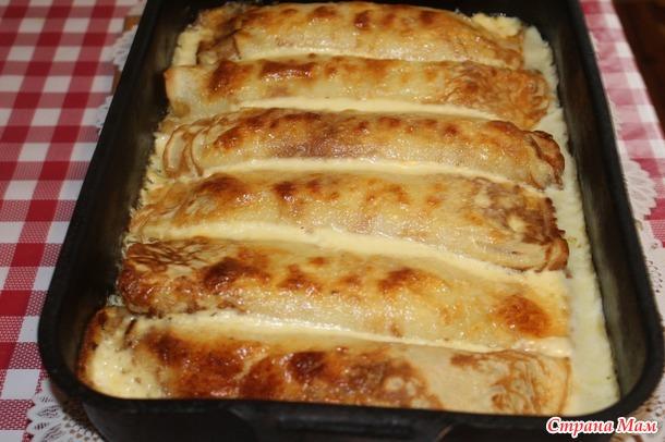 Блины с грибами и курицей под сливками, очень вкусно и очень необычно)))