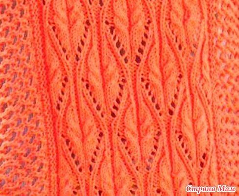Оранжевое танго. Цельнокроенная кофточка спицами.