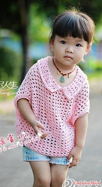 . Розовое облачко. Ажурная кофточка для девочки.