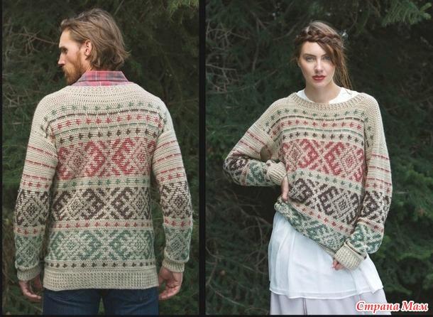 Пуловер крючком унисекс с жаккардовым рисункомм