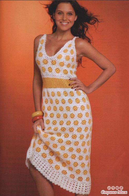 Ромашки, платье крючком