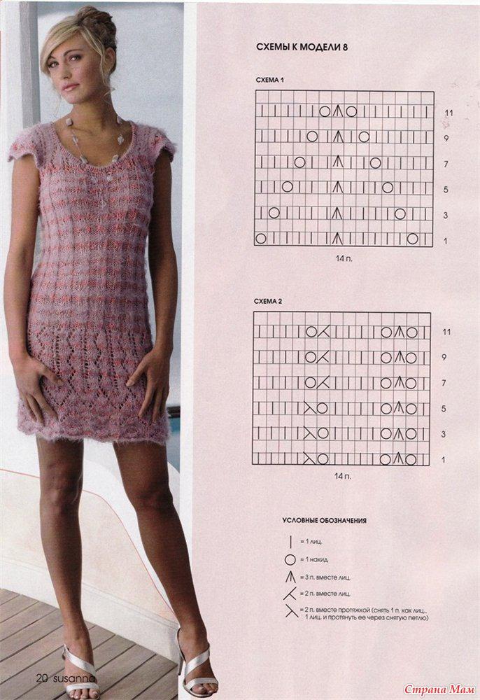 Платья спицами лето со схемами и фото