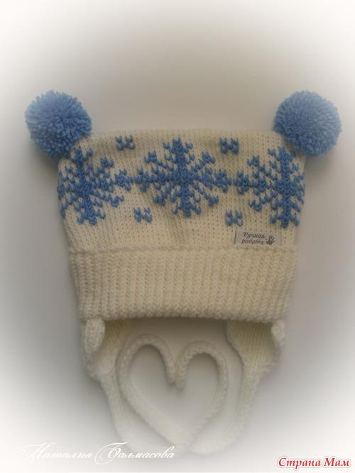 """Две шапочки для деток """"Пион"""" и """"Снежинки"""""""