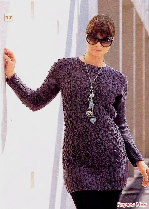 Вязание. Удлиненный узорчатый пуловер.