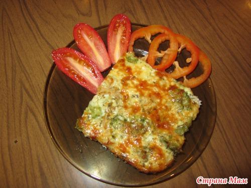 Запеканка из цветной капусты и брокколи с ветчиной