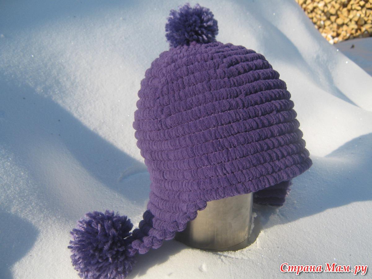 шапочки из помпонной пряжи крючком вязание страна мам