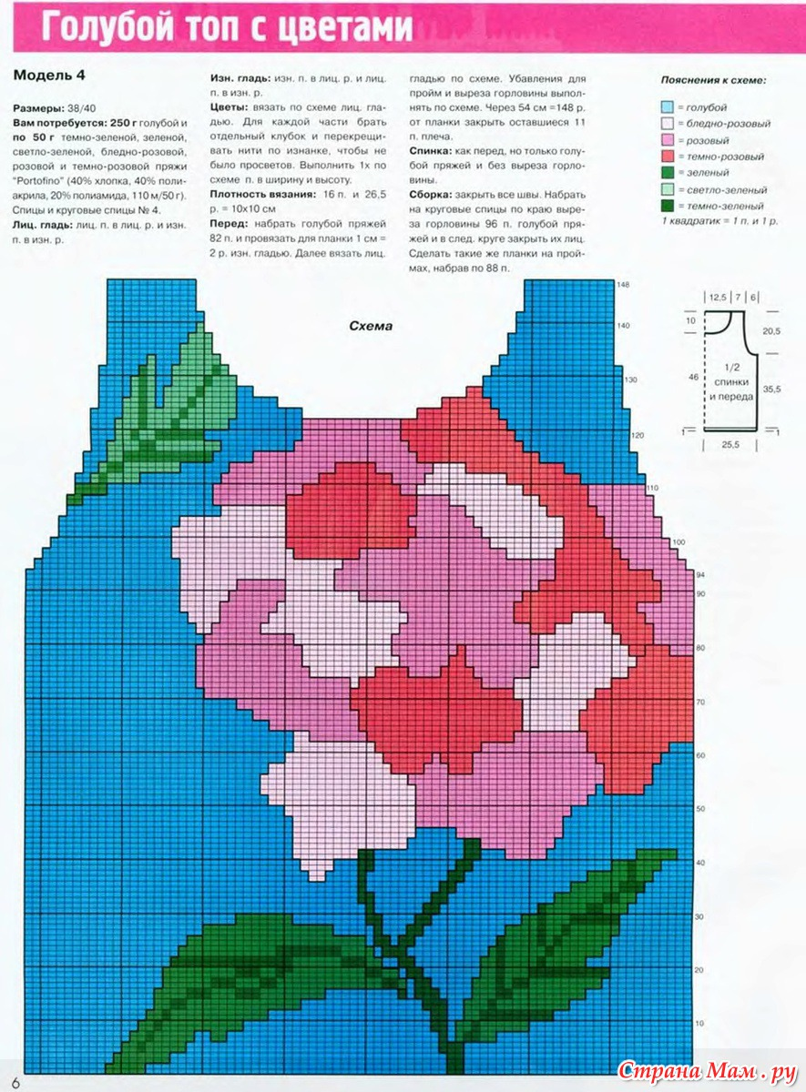 схемы картинок с цветами для вязания спицами этом фото