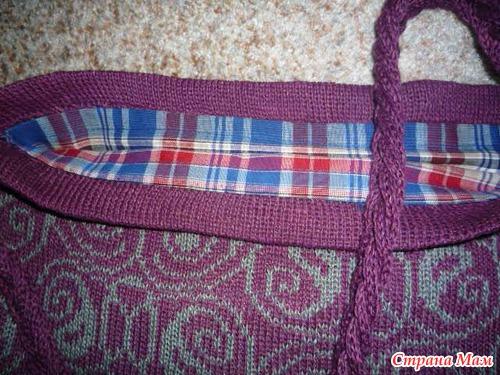 Льняная сумка. Связана на машине. Ручка- колосок из шнуров, подкладка - плотное х/б.